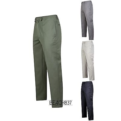 MENS ELASTICATED ADJUSTABLE WAIST CASUAL SMART WORK PLAIN RUGBY TROUSERS PANTS