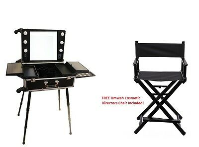 Professional Rolling Studio Makeup Vanity Train Case with LED Lights FREE CHAIR