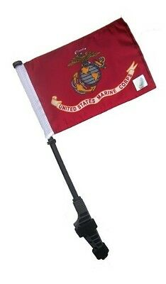US Marine Corps Small 6x9 Golf Cart Flag with Ez on and Off Bracket. Shipping In