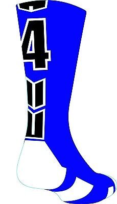 (Small, #4) - Player Id Number Crew Sock (SINGLE SOCK) - Blue/Black. Delivery is