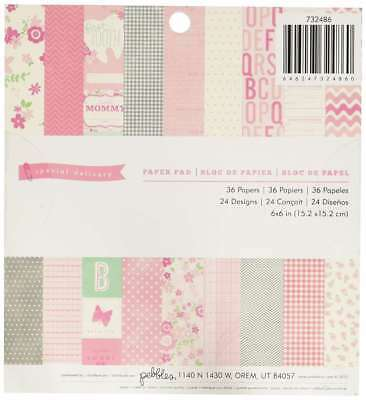 Pebbles 36-Sheet Special Delivery Girl Paper Pad, 6 by 6-Inch