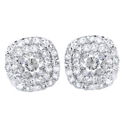 .85Ct Pave Double Halo Diamond 14K White Gold Studs Women's Earrings 9.5mm