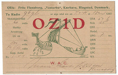DENMARK Early Amateur Radio QSL Card Ringsted 1931