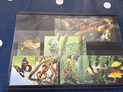 Palau selection of se tenants nhm animal stamps on card