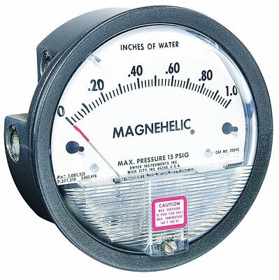 "Dwyer Magnehelic Series 2000 Differential Pressure Gauge, Range 0"" - 25cm WC &"