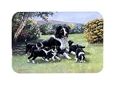 Caroline's Treasures Border Collie Puppies with Momma Glass Cutting Board,