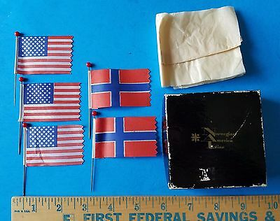 Vintage Norwegian America Line Box With Norway And American Flag Pins
