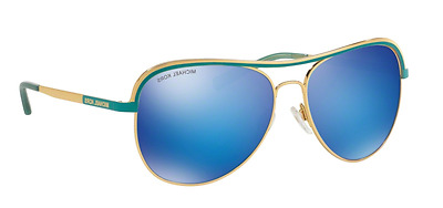 NWT MICHAEL KORS Sunglasses MK1012 110625 Gold Turquoise /Blue Mirrored 58mm NIB