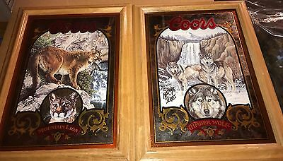2 COORS BEER MIRRORS TIMBER WOLF & MOUNTAIN LION Wildlife Hunting Sign Bar Pub