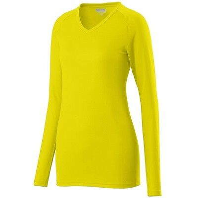 (X-Large, Power Yellow) - Augusta Sportswear Ladies Assist V Neck Jersey. Shippi