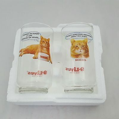 Vintage Morris The Cat Drinking Glasses 9 Lives Set Of 2 Glasses Never Used