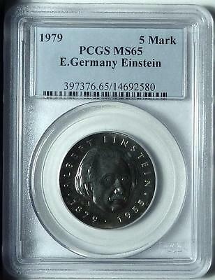 "East Germany 1979 5 Mark ""Einstein"", PCGS MS65"