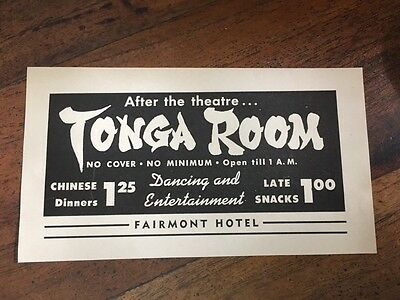 Vtg Fairmont Hotel Tonga Room Print Ad Clipping 1950 Dancing and Entertainment