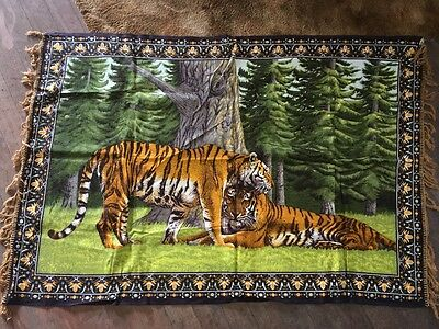 2 Tigers Pattern Tapestry, Wall Hanging Rug , Made In Turkey
