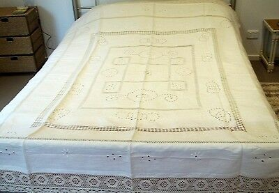 Vintage Cream Irish Linen Embroidered Bedspread 250 x 198cm Table Cloth