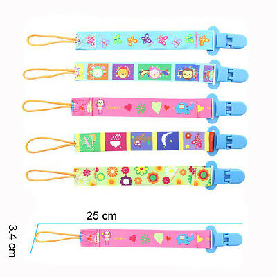 5pcs Baby Pacifier Holder Newborn Boys Girl Dummy Soother Leash Strap Clip Chain