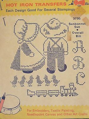 VTG 50s AUNT MARTHAS 3795 Sunbonnet Sue~Overall Bill & Train X-Stitch TRANSFERS