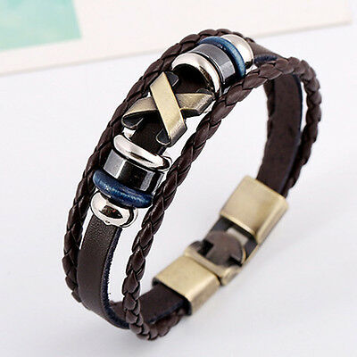 Cool Stunning Leather Bracelet Bangle Vintage Wristband Rock Punk  Bracelet  EB4
