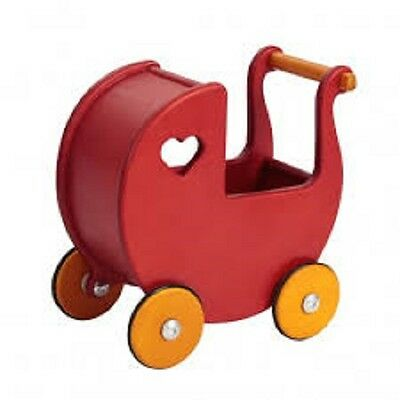 Brand New Moover Red Timber Girls  Wooden Dolls Pram Toy Prtend Play