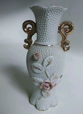VASE 7 inch tall Ceramic Porcelain with pink flowers and white hobnail bumps