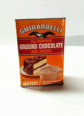 Vintage GHIRARDELLI'S GROUND CHOCOLATE & COCOA Tin Advertising Collectible