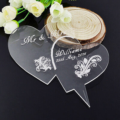 Engraved Heart Acrylic Personalised Wedding cake toppers decorations Mr and Mrs