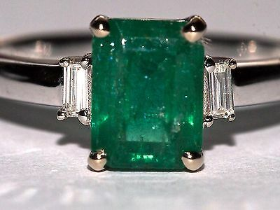 Certified 1.68ct  Natural Colombian Emerald and Diamond 18K White Gold Ring