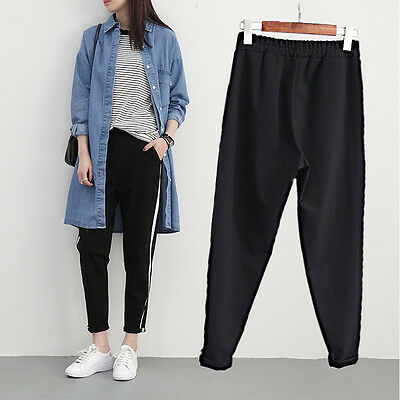 Women Ankle Length Harem Pants Side Striped Black Elastic High Waist Trousers