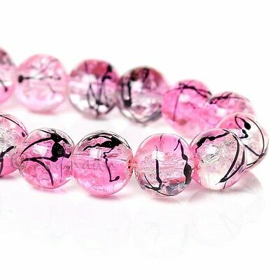 Pink Wholesale 10mm Round Crackle Glass Beads G8100 - 20, 50 Or 100PCs