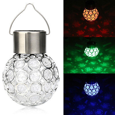 Waterproof LED Ball Solar Lights Rotatable Outdoor Garden Camping Hanging Round