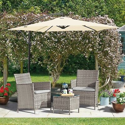 Rattan Garden Furniture Outdoor Patio 3pc Bistro Set 2 Chairs & Glass Table NEW