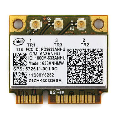 HP intel Ultimate-N 6300 Dual Band 450Mb a/g/n 633ANHMW sps:572511-001 half Card