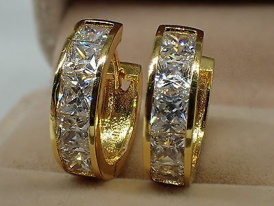 18K Yellow Gold Solid Womens Girls 20mm Created Diamond Hoop huggie Earrings