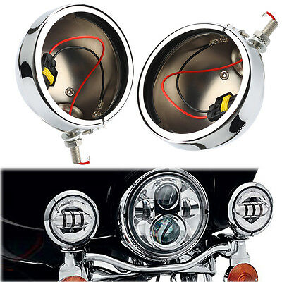Pair Chrome 4.5'' LED Fog Light Lamp Outer Cover Housing Bracket Trim For Harley