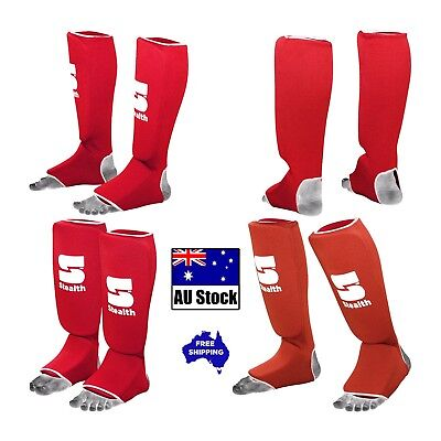 Shin Instep Guards Pads Mma Foot Protection Muay Thai Kick Boxing Training Red