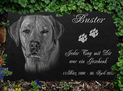 """Tombstone Grave Stone Engraving Animal Dog Your Photo + Text 12""""x8"""" / 30x20 cm"""