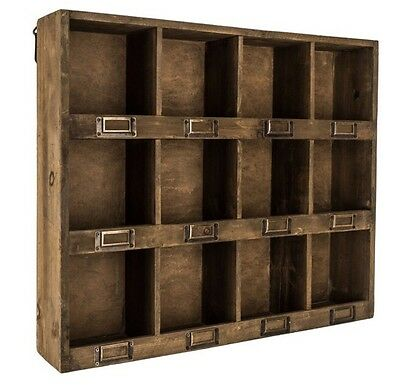 Antique Brown Wooden Wall Shelf with 12-Slots   RUSTIC VINTAGE HOME DECOR NEW