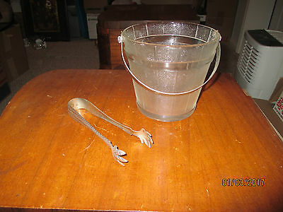 Vintage Depression Glass Ice Bucket Frosted Metal Handle With Tongs