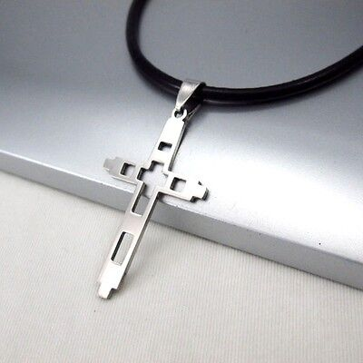 Silver Stainless Steel Celtic Cross Pendant 3mm Black Leather Ethnic Necklace