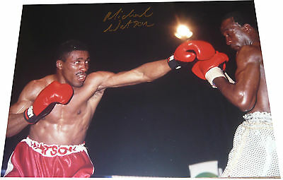 Michael Watson SIGNED AUTOGRAPH Boxing 16x12 Photo vs Nigel Benn AFTAL UACC