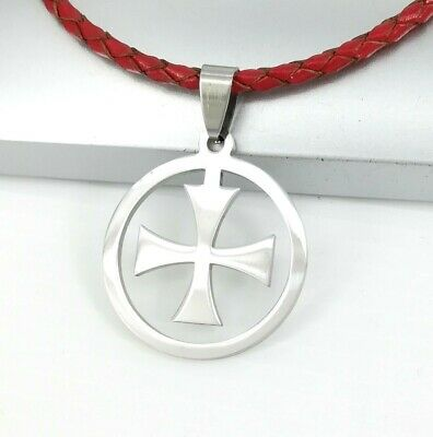 Silver Medieval Knights Templar Cross Pendant 3mm Braided Red Leather Necklace