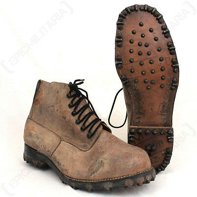 Original Swiss Mountain Boots - Genuine Army Surplus Shoes 1950s Vintage Leather
