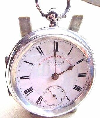 ANTIQUE SOLID SILVER POCKET WATCH  J G GRAVES THE EXPRESS ENGLISH LEVER 1906 fwo