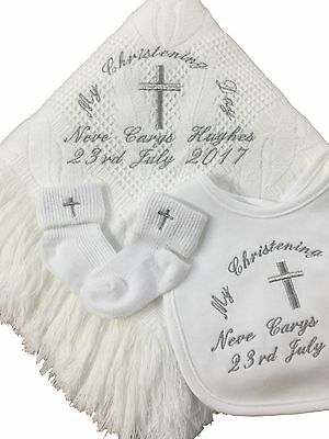 Personalised Baby's Christening Shawl, Bib & Socks Gift Set