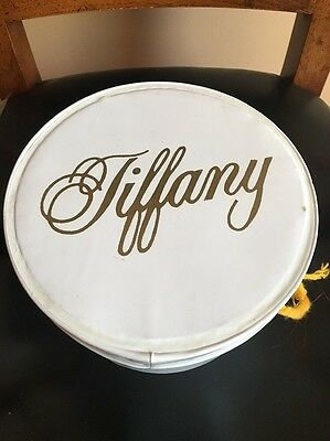 Vintage Tiffany Small White Vinyl Hat/Wig Box