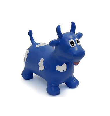 Happy Hopperz Ride On Bouncing Animal - Blue Bull - Suitable from 12 Months