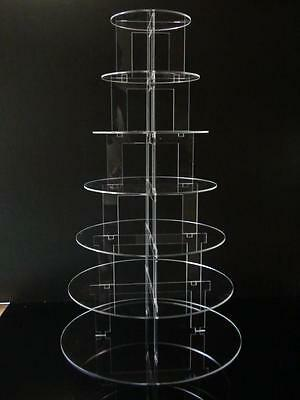 TK Round Clear Acrylic Cupcake Party Wedding Cake Display Stand: Choice of Tiers