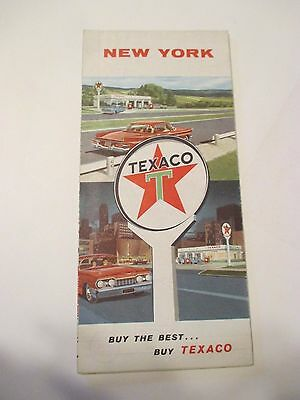 Vintage 1960 TEXACO NEW YORK Oil Gas Service Station State Road Map