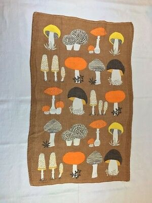 Vintage 1960s Irish Linen Mushrooms Print Tea Towel Orange Brown Yellow