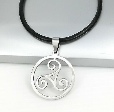 Silver Triskelion Triskele Spiral Celtic Pendant Black Leather Surfer Necklace